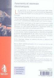 Paiements et monnaie électroniques ; droits européen, français et belge - 4ème de couverture - Format classique