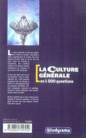 La culture générale en 1000 questions (3e édition) - 4ème de couverture - Format classique