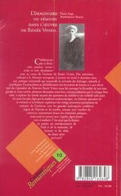 L'Imaginaire Du Feminin Dans L' Uvre De Renee Vivien. De Memoires En Memoire - 4ème de couverture - Format classique
