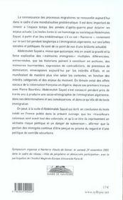 Memoires Algeriennes - 4ème de couverture - Format classique