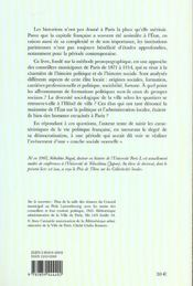 Les Conseillers Municipaux De Paris Sous La Iii<Sup>E</Sup> Republiqu E 1871-1914 - 4ème de couverture - Format classique