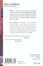 Monsieur Lecoq - 4ème de couverture - Format classique