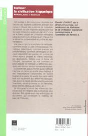 Expliquer La Civilisation Hispanique - 4ème de couverture - Format classique