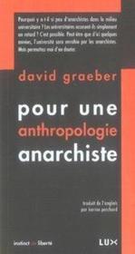Pour une anthropologie anarchiste - Couverture - Format classique