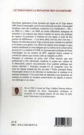Le Togo sous la dynastie des Gnassingbé - 4ème de couverture - Format classique
