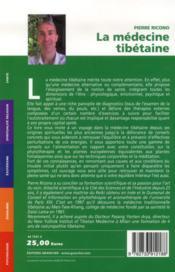 La médecine tibétaine - 4ème de couverture - Format classique