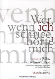 Rilke Et La Premiere Elegie - Couverture - Format classique