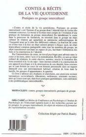 Contes Et Recits De La Vie Quotidienne ; Pratiques En Groupe Interculturel - 4ème de couverture - Format classique