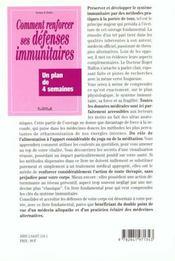 Renforcer Vos Defenses Immunitaires - 4ème de couverture - Format classique