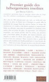 Hebergements insolites. le guide - 4ème de couverture - Format classique