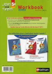 Anglais ; 5ème ; workbook (édition 2011) - 4ème de couverture - Format classique