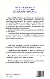 Pour une nouvelle industrialisation des régions françaises - 4ème de couverture - Format classique