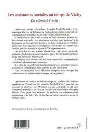 Les Assistantes Sociales Au Temps De Vichy - 4ème de couverture - Format classique