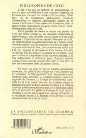 La Philosophie De L'Exil - 4ème de couverture - Format classique