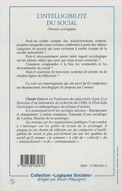 L'Intelligibilite Du Social ; Chemins Sociologiques - 4ème de couverture - Format classique