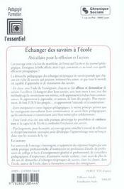 Echanger Des Savoirs A L'Ecole - 4ème de couverture - Format classique