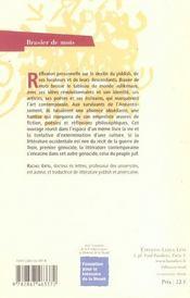 Brasier De Mots - 4ème de couverture - Format classique