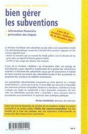 Bien Gerer Les Subventions. Information Financiere Et Prevention Des Risques - 1ere Ed. - 4ème de couverture - Format classique