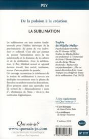 La sublimation (2e édition) - 4ème de couverture - Format classique