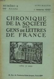 CHRONIQUE DE LA SOCIETE DES GENS DE LETTRES DE FRANCE N°2, 92e ANNEE ( 2e TRIMESTRE 1957) - Couverture - Format classique