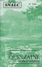 La Quinzaine Universitaire N°858 - Couverture - Format classique