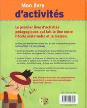 Mon Livre D'Activites - 4ème de couverture - Format classique