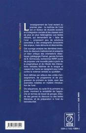 Une didactique a l'oral ; du primaire au lycee - 4ème de couverture - Format classique