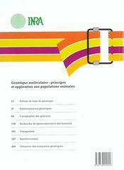 Génétique moléculaire ; productions animales - 4ème de couverture - Format classique