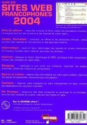 Guide Des Sites Web Francophones - 4ème de couverture - Format classique