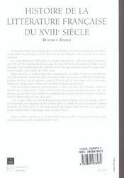 Histoire De La Litterature Francaise Du 18e Siecle - 4ème de couverture - Format classique