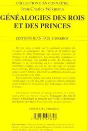 Genealogies Des Rois Et Princes D'Europe - 4ème de couverture - Format classique