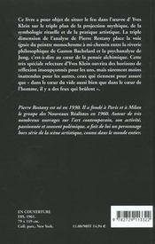 Yves Klein Le Feu Au Coeur Du Vide - 4ème de couverture - Format classique