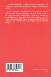La Genealogie ; Retrouver Ses Ancetres Et Ses Origines - 4ème de couverture - Format classique