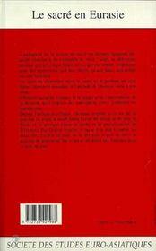 Revue Eurasie T.5 ; Le Sacré En Eurasie - 4ème de couverture - Format classique