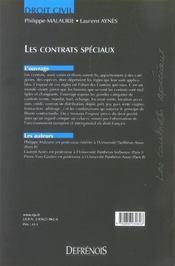 Droit Civil-Contrats Speciaux, 2eme Edition - 4ème de couverture - Format classique