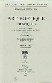 Art Poetique Francois - Couverture - Format classique