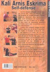 Kali arnis eskrima self-defense avec armes et a mains nues - 4ème de couverture - Format classique