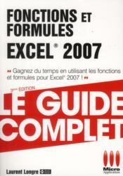 Fonctions et formules Excel 2007 - Couverture - Format classique