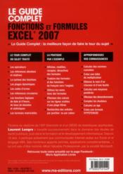 Fonctions et formules Excel 2007 - 4ème de couverture - Format classique