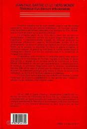 Jean-Paul Sartre et le tiers-monde ; rhétorique d'un discours anticolonialiste - 4ème de couverture - Format classique