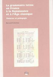 La Grammaire Latine En France, A La Renaissance Et A L'Age Classique. Theories Et Pedagogie - Intérieur - Format classique