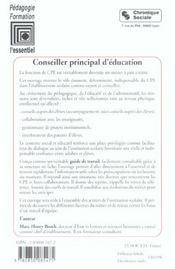 Conseiller principal d'education - 4ème de couverture - Format classique