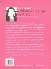 Amélie Nothomb de a à z ; portrait d'un monstre littéraire (édition 2007) - 4ème de couverture - Format classique