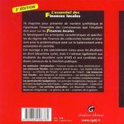 Essentiel Des Finances Locales 2e (L') - 4ème de couverture - Format classique