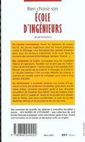 Bien choisir son école d'ingénieurs (édition 2001) - 4ème de couverture - Format classique