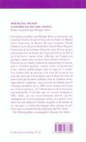 Poetes Du Spleen : Leopardi, Baudelaire, Pessoa - 4ème de couverture - Format classique
