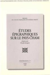 Études épigraphiques sur le pays cham - Couverture - Format classique