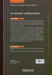 Regimes Matrimoniaux (Les) - 4ème de couverture - Format classique