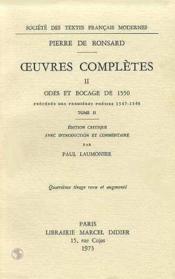 Tome Ii - Odes Et Bocage De 1550 - Couverture - Format classique