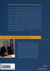 Comprendre la construction europénne - 4ème de couverture - Format classique